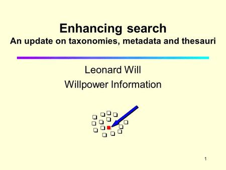1 Enhancing search An update on taxonomies, metadata and thesauri Leonard Will Willpower Information.