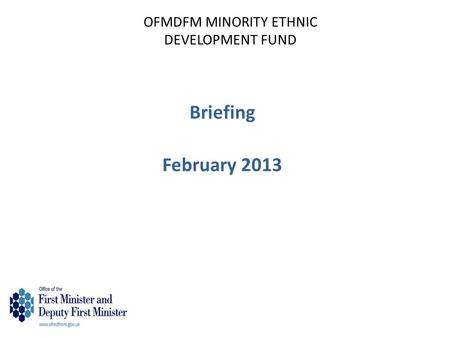 OFMDFM MINORITY ETHNIC DEVELOPMENT FUND Briefing February 2013.