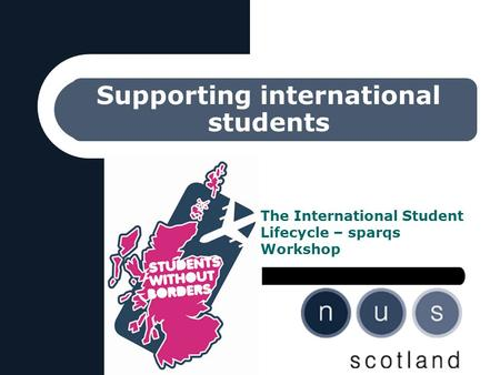 Supporting international students The International Student Lifecycle – sparqs Workshop.