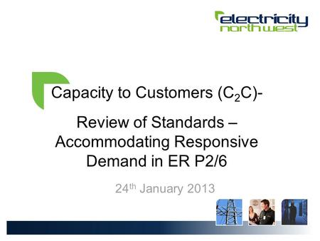 Capacity to Customers (C 2 C)- Review of Standards – Accommodating Responsive Demand in ER P2/6 24 th January 2013.