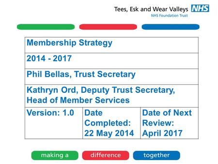 Membership Strategy 2014 - 2017 Phil Bellas, Trust Secretary Kathryn Ord, Deputy Trust Secretary, Head of Member Services Version: 1.0Date Completed: 22.