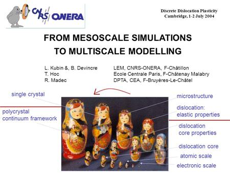 FROM MESOSCALE SIMULATIONS TO MULTISCALE MODELLING Discrete Dislocation Plasticity Cambridge, 1-2 July 2004 L. Kubin &, B. Devincre LEM, CNRS-ONERA, F-Châtillon.