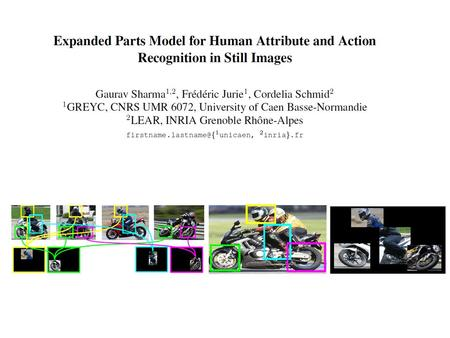 Introduction Problem: Classifying attributes and actions in still images Model:  Collection of part templates  Specific scale space locations (human.
