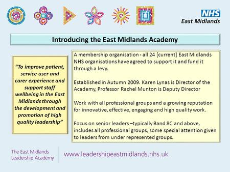 Introducing the East Midlands Academy A membership organisation - all 24 [current] East Midlands NHS organisations have agreed to support it and fund it.