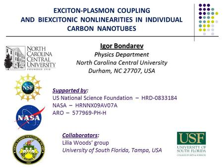 EXCITON-PLASMON COUPLING AND BIEXCITONIC NONLINEARITIES IN INDIVIDUAL CARBON NANOTUBES Igor Bondarev Physics Department North Carolina Central University.