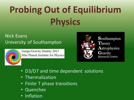 Probing Out of Equilibrium Physics Nick Evans University of Southampton D3/D7 and time dependent solutions Thermalization Finite T phase transitions Quenches.
