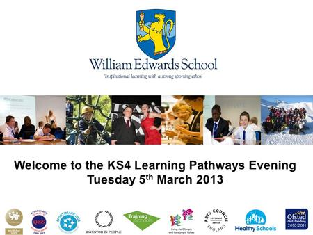 Welcome to the KS4 Learning Pathways Evening Tuesday 5 th March 2013.