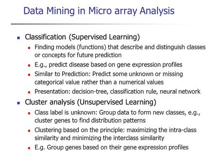 Data Mining in Micro array Analysis