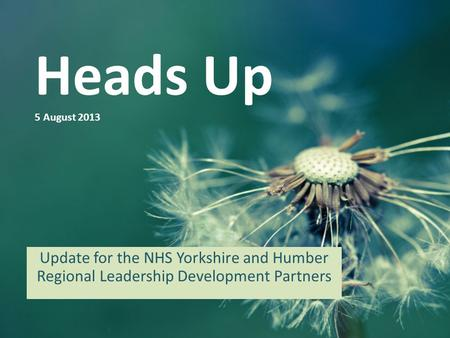 Heads Up 5 August 2013 Update for the NHS Yorkshire and Humber Regional Leadership Development Partners.