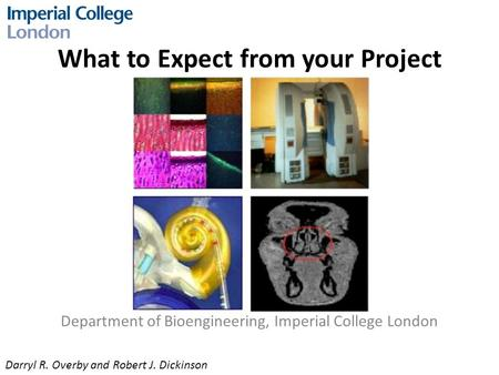 What to Expect from your Project Department of Bioengineering, Imperial College London Darryl R. Overby and Robert J. Dickinson.