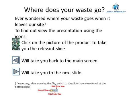 Where does your waste go? Ever wondered where your waste goes when it leaves our site? To find out view the presentation using the icons: Click on the.
