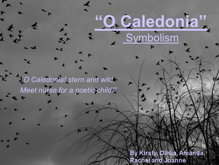 """O Caledonia"" Symbolism ""O Caledonia! stern and wild, Meet nurse for a poetic child!"" By Kirsty, Olivia, Amanda, Rachel and Joanne."