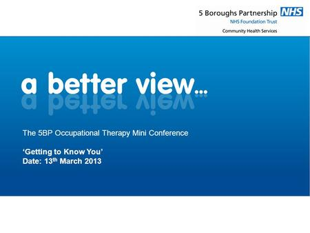 The 5BP Occupational Therapy Mini Conference 'Getting to Know You' Date: 13 th March 2013.