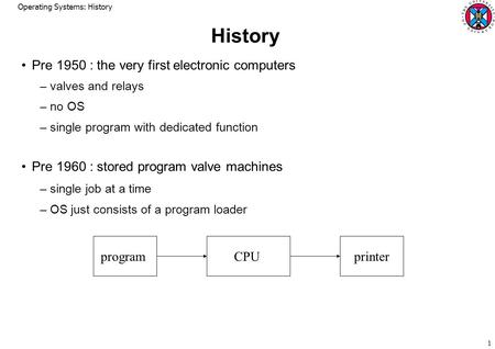 Operating Systems: History 1 History Pre 1950 : the very first electronic computers –valves and relays –no OS –single program with dedicated function Pre.