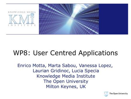 WP8: User Centred Applications Enrico Motta, Marta Sabou, Vanessa Lopez, Laurian Gridinoc, Lucia Specia Knowledge Media Institute The Open University Milton.