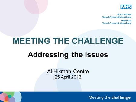 MEETING THE CHALLENGE Addressing the issues Al-Hikmah Centre 25 April 2013.