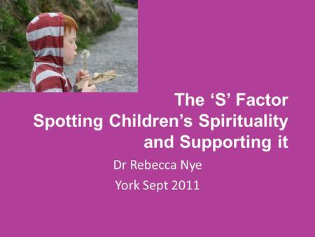 The 'S' Factor Spotting Children's Spirituality and Supporting it Dr Rebecca Nye York Sept 2011.