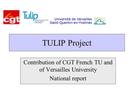 TULIP Project Contribution of CGT French TU and of Versailles University National report.