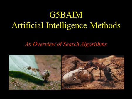 G5BAIM Artificial Intelligence Methods An Overview of Search Algorithms.