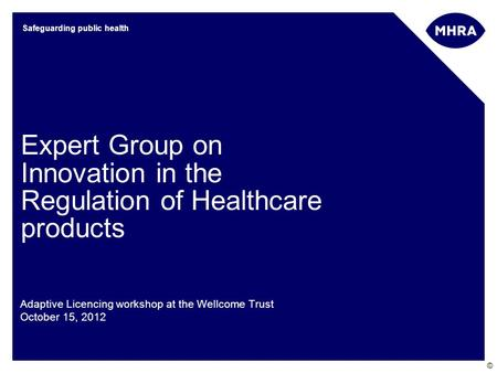 © Safeguarding public health Expert Group on Innovation in the Regulation of Healthcare products Adaptive Licencing workshop at the Wellcome Trust October.