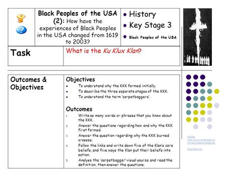 Outcomes & Objectives Objectives To understand why the KKK formed initially. To describe the three separate stages of the KKK. To understand the term 'carpetbaggers'.