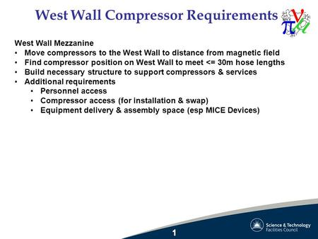 West Wall Compressor Requirements West Wall Mezzanine Move compressors to the West Wall to distance from magnetic field Find compressor position on West.