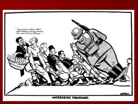 This cartoon of February 1938 by the British cartoonist David Low appeared in the Evening Standard newspaper. The cartoon shows Germany crushing Austria.