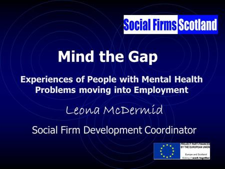 Leona McDermid Social Firm Development Coordinator Experiences of People with Mental Health Problems moving into Employment Mind the Gap.