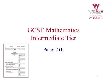 1 GCSE Mathematics Intermediate Tier Paper 2 (f).