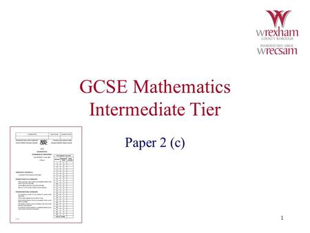 GCSE Mathematics Intermediate Tier