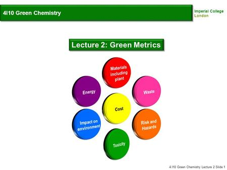 Imperial College London 4I10 Green Chemistry Lecture 2: Green Metrics 4.I10 Green Chemistry Lecture 2 Slide 1.
