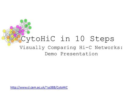 Visually Comparing Hi-C Networks: Demo Presentation CytoHiC in 10 Steps