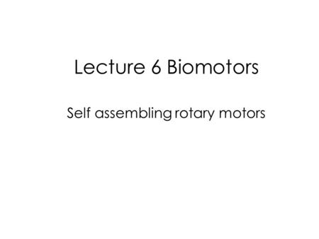 Lecture 6 Biomotors Self assembling rotary motors.