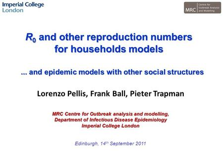 R 0 and other reproduction numbers for households models MRC Centre for Outbreak analysis and modelling, Department of Infectious Disease Epidemiology.