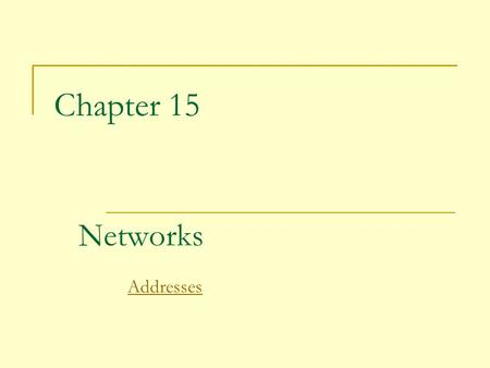 Chapter 15 Networks Addresses. 2 Networking Computer network:  A collection of computing devices that are connected in various ways in order to communicate.