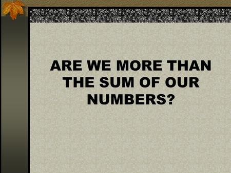 ARE WE MORE THAN THE SUM OF OUR NUMBERS?. PYTHAGOAS STATED THAT EVERYTHING CAN BE REDUCED TO A NUMBER (LAHANAS)