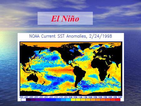 El Niño. What is El Niño? A shift in ocean current direction and water temperature El Niño: the ocean part: Warm phase of ENSO: El Niño - Southern Oscillation.