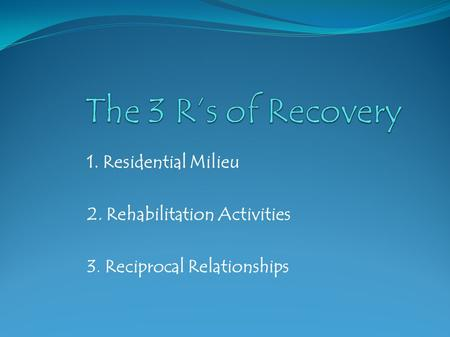 1. Residential Milieu 2. Rehabilitation Activities 3. Reciprocal Relationships.