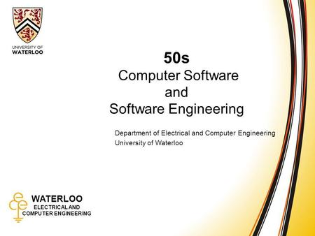50s Computer Software and Software Engineering