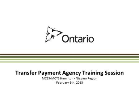 Transfer Payment Agency Training Session MCSS/MCYS Hamilton - Niagara Region February 6th, 2013.