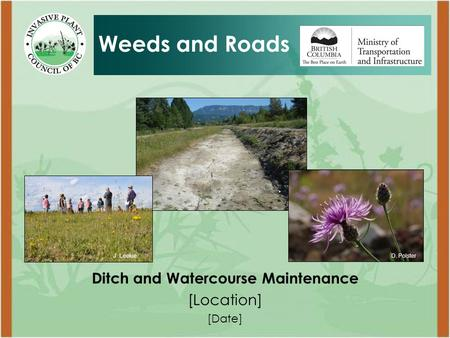 Ditch and Watercourse Maintenance [Location] [Date] Weeds and Roads D. PolsterJ. Leekie.