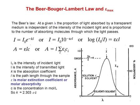 The Beer-Bouger-Lambert Law and  max The Beer's law: At a given the proportion of light absorbed by a transparent medium is independent of the intensity.