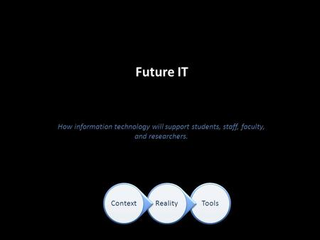 Future IT How information technology will support students, staff, faculty, and researchers. ToolsRealityContext.