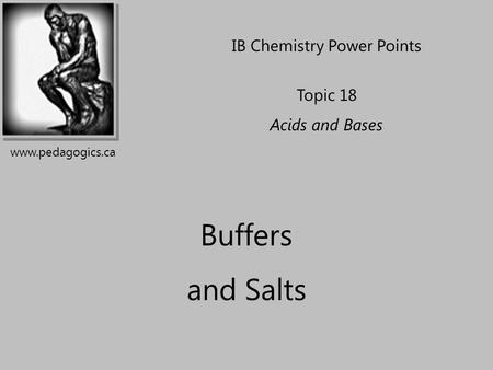 Buffers and Salts IB Chemistry Power Points Topic 18 Acids and Bases www.pedagogics.ca.