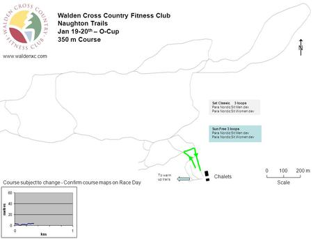 Www.waldenxc.com Walden Cross Country Fitness Club Naughton Trails Jan 19-20 th – O-Cup 350 m Course Chalets Scale 0100 200 m Course subject to change.