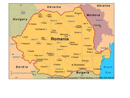 Geography Romania is in southeast Europe and is slightly smaller than Oregon. The Carpathian Mountains divide Romania's upper half from north to south.