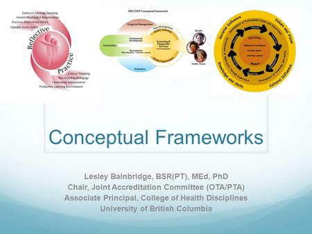 Conceptual Frameworks Lesley Bainbridge, BSR(PT), MEd, PhD Chair, Joint Accreditation Committee (OTA/PTA) Associate Principal, College of Health Disciplines.