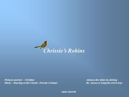 Chrissie's Robins Pictures and text - Christine Music – Dancing on the Clouds - Ernesto Cortazar Advance the slides by clicking the mouse or using the.
