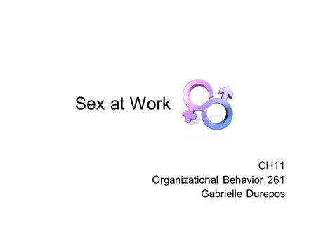 Sex at Work CH11 Organizational Behavior 261 Gabrielle Durepos.