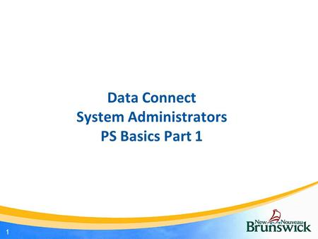 Data Connect System Administrators PS Basics Part 1 1.